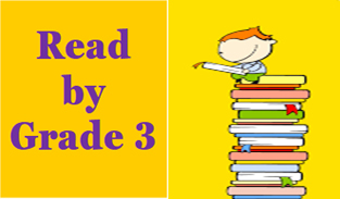 graphic depicting Read by Grade 3 title and child sitting on stack of books